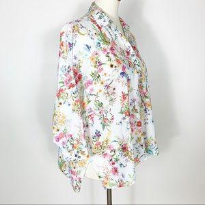 Zara   100% Cotton Floral Button Down Blouse Sz M